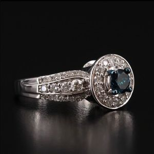Blue diamond engagement ring
